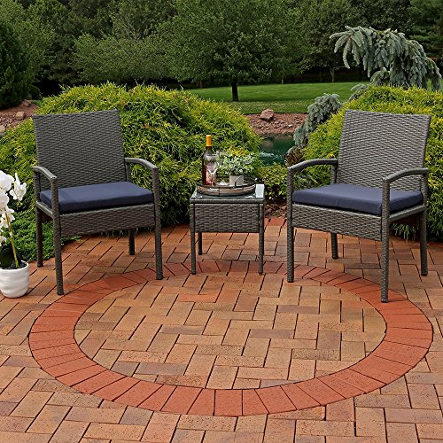 Sunnydaze Bita 3-Piece Wicker Rattan Lounger Patio Furniture Set Dark Blue Cushions -