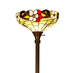 "CO-Z Tiffany Style Torchiere Floor Lamp, 35.6cm/14"" Floral Stained Glass Handcrafted Shade with Bronze Pole & Base, 180cm/71 Height"