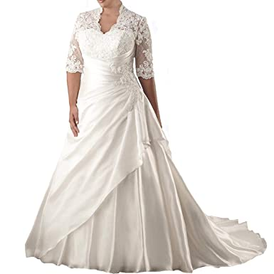 c07ba3b4f1c8e Elegant Women's Plus Size Wedding Dresses for Bride Long Appliques Lace Ball  Gowns 3/4 Sleeves Bridal Dress at Amazon Women's Clothing store: