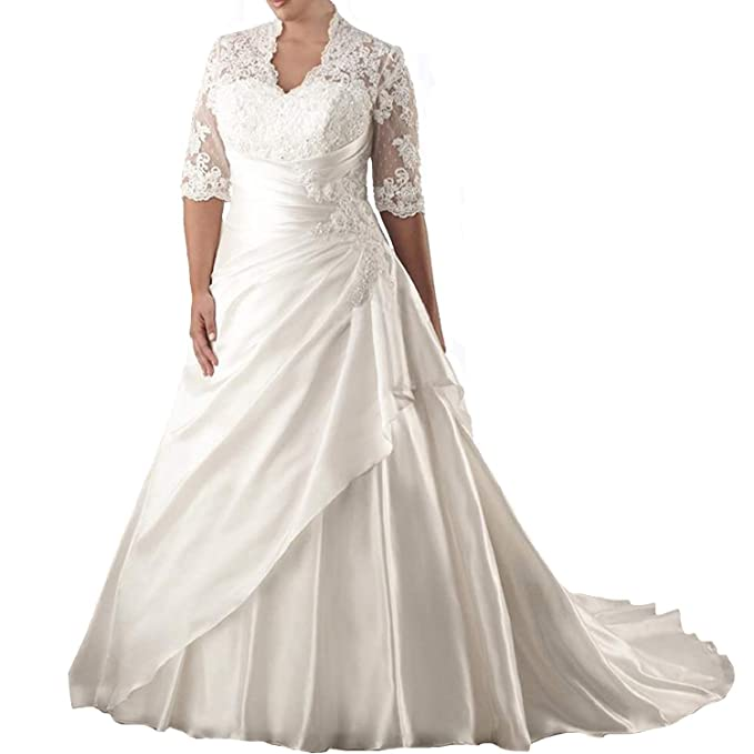 Elegant Women\'s Plus Size Wedding Dresses for Bride Long Appliques Lace  Ball Gowns 3/4 Sleeves Bridal Dress