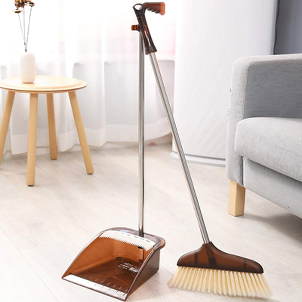 Czlsd Indoor Soft Broom Brush Cleaning Broom Combination Standing Broom And Shovel Set (Color : Coffee color) by Czlsd