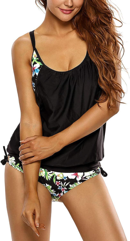 Womens Lady Striped Print Tankini Swimsuits Half Shorts Bathing Suit Swimwear