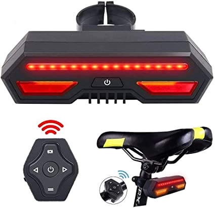 Bicycle Light LED Rear Tail Smart Wireless Remote Control Turns Rechargeable