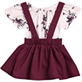 cff78cdbc27 FEITONG 2Pcs Infant Baby Girls Floral Print Rompers Jumpsuit + Strap Skirt  Outfits Set