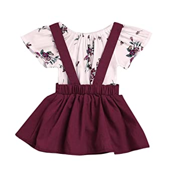 4120319fe305 Image Unavailable. Image not available for. Color  FEITONG 2Pcs Infant Baby  Girls Floral Print Rompers Jumpsuit + Strap Skirt ...