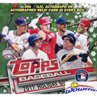 2017 Topps Baseball Sealed HOLIDAY MEGA BOX with AUTOGRAPH or RELIC, 100 Cards & (5) EXCLUSIVE Snowflake Metallic Parallels! Look for Rookies & Autos of AARON JUDGE, CODY BELLINGER & More! WOWZZER!