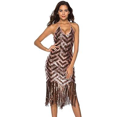 Women Wrap Dresses Sexy Patchwork V-Neck Sequined Shining Tassel Hem Mini Dress Party Dress at Amazon Womens Clothing store: