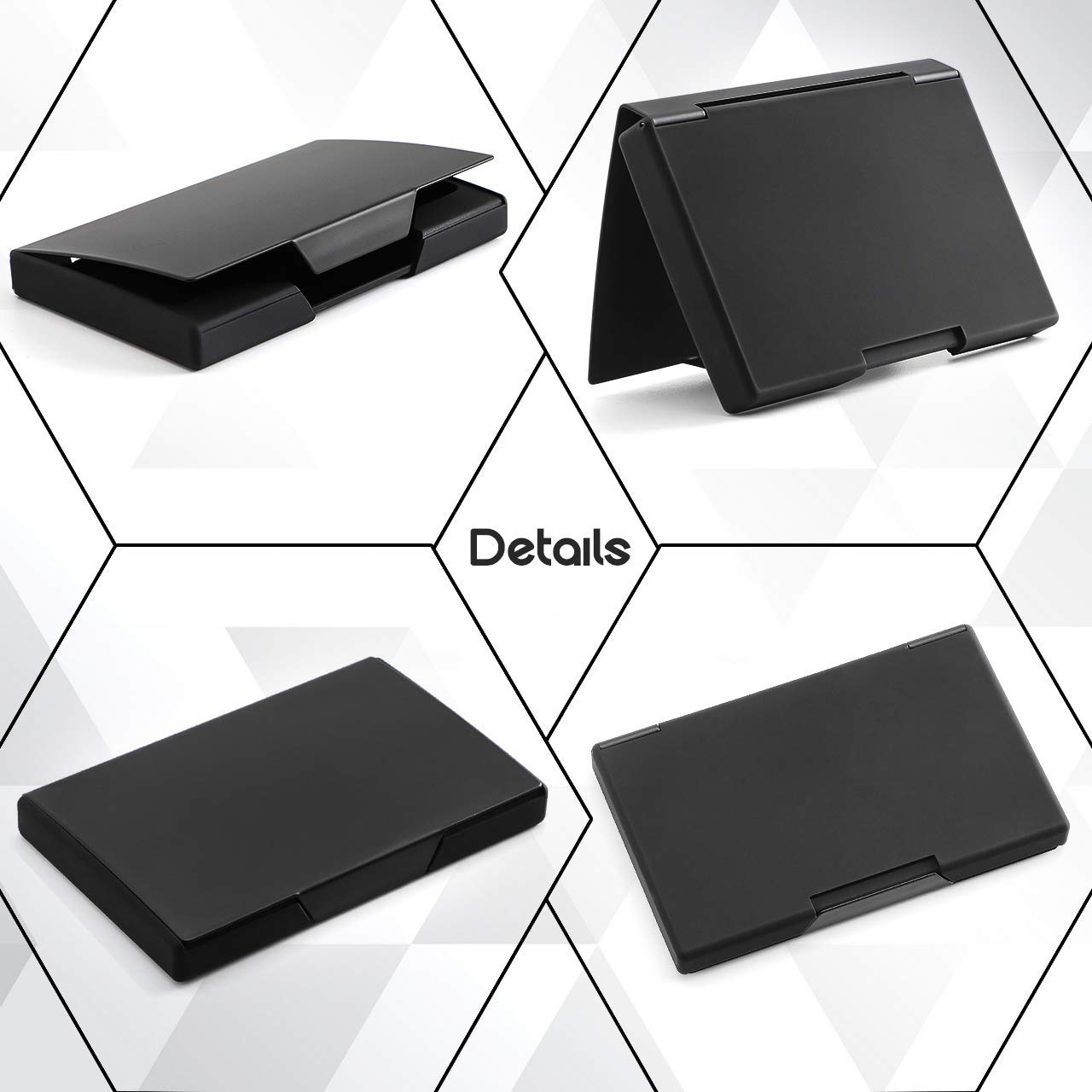 Hamosky Professional Business Card Holder Business Card Case Stainless Steel Card Holder Keep Business Cards in Immaculate Condition NS Black B
