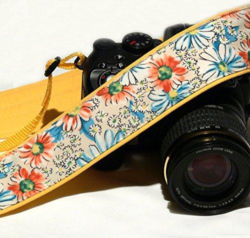 Flowers Camera Strap. DSLR Camera Strap. Canon Nikon Camera Strap. Yellow camera strap. Camera Accessories; 172
