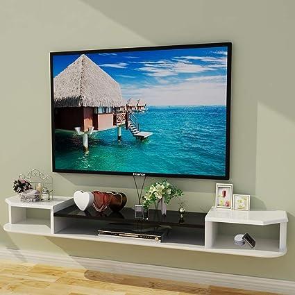 Televisor Montado en la Pared Gabinete Dormitorio Sala de Estar Estante en la Pared Ruteador Caja Superior Reproductor de DVD Estante de Almacenamiento Estante para TV Multifuncional Soporte de TV (C: Amazon.es: