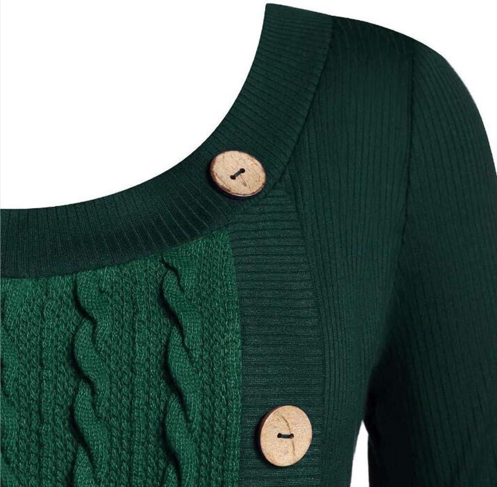 Dainzuy Plus Size Women Sweater Dress O-Neck Long Sleeve Solid Asymmetric Hem Chunky Button Knit Sweater Black