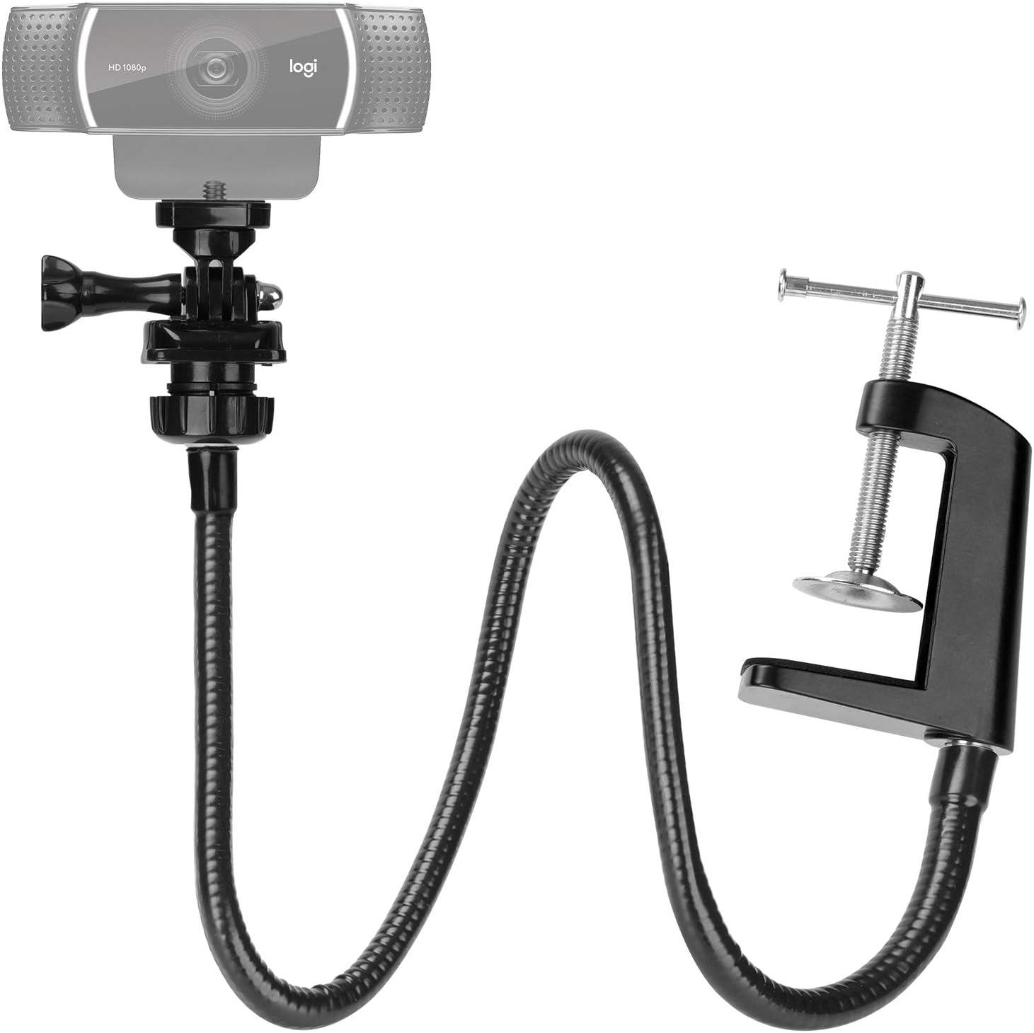 25 Inch Webcam Stand - Enhanced Desk Jaw Clamp with Flexible Gooseneck Stand for Logitech Webcam C920,C922,C922x,C930,C615,C925e,Brio 4K by AMADA HOMEFURNISHING