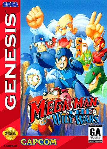 Mega Man The Wily Wars (Sega Genesis / Mega Drive) - Reproduction Video Game Cartridge with Clamshell Case and Manual