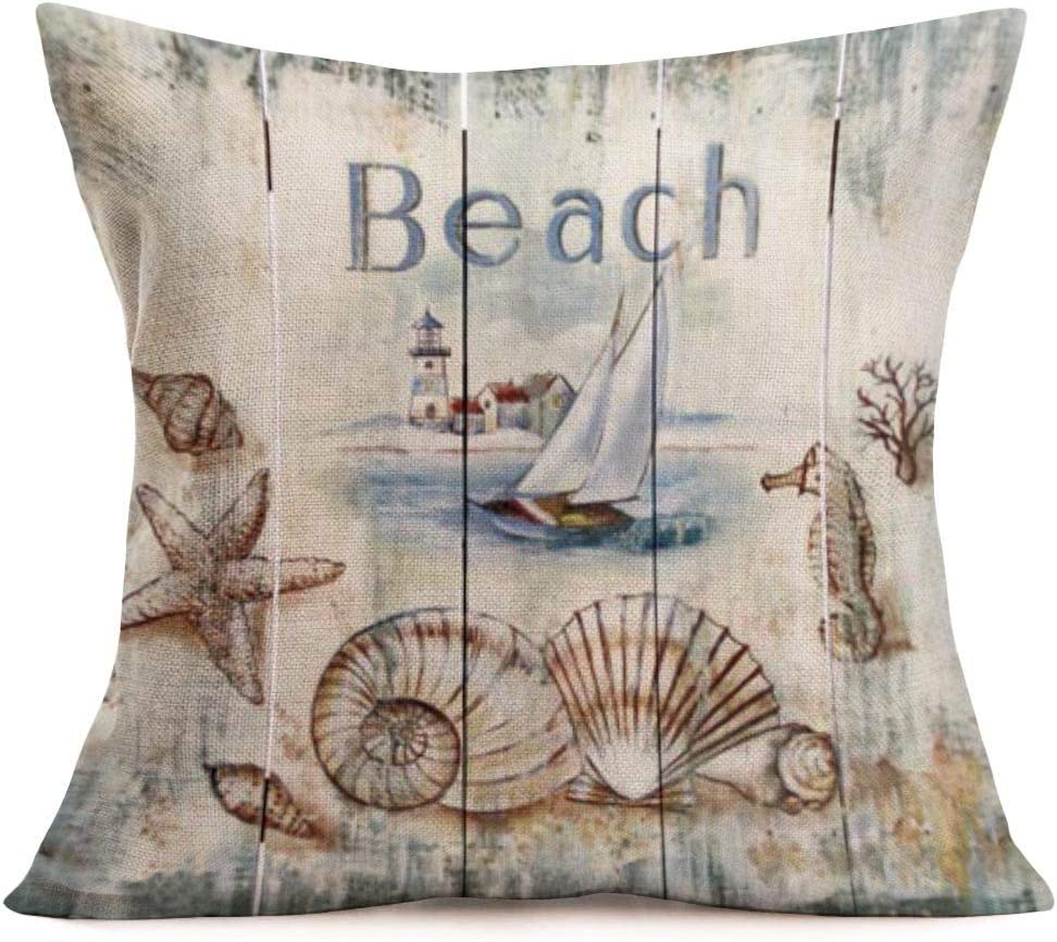 Smilyard Coastal Throw Pillows Covers Vintage Cotton Linen Wood Grain Shell Beach Throw Pillowcase Sea Animal Cushion Covers Square Coastal Country Decorative Home Couch 18x18 Inches(WQ 03)