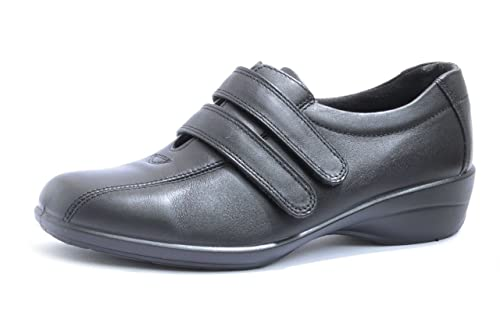 9de09f82aa427 DB easy b CHANTELLE Great everyday black ladies double strap shoes in EE ( Extra Wide