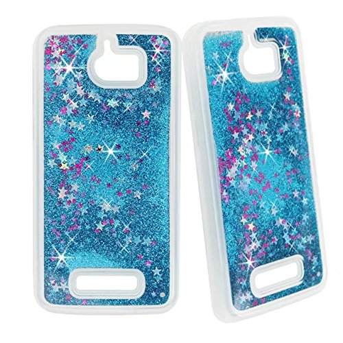 (Coolpad Defiant 3632A Case, GREENTING Bling Liquid Glitter Quicksand Hybrid Rubber TPU Case Cover (Blue))