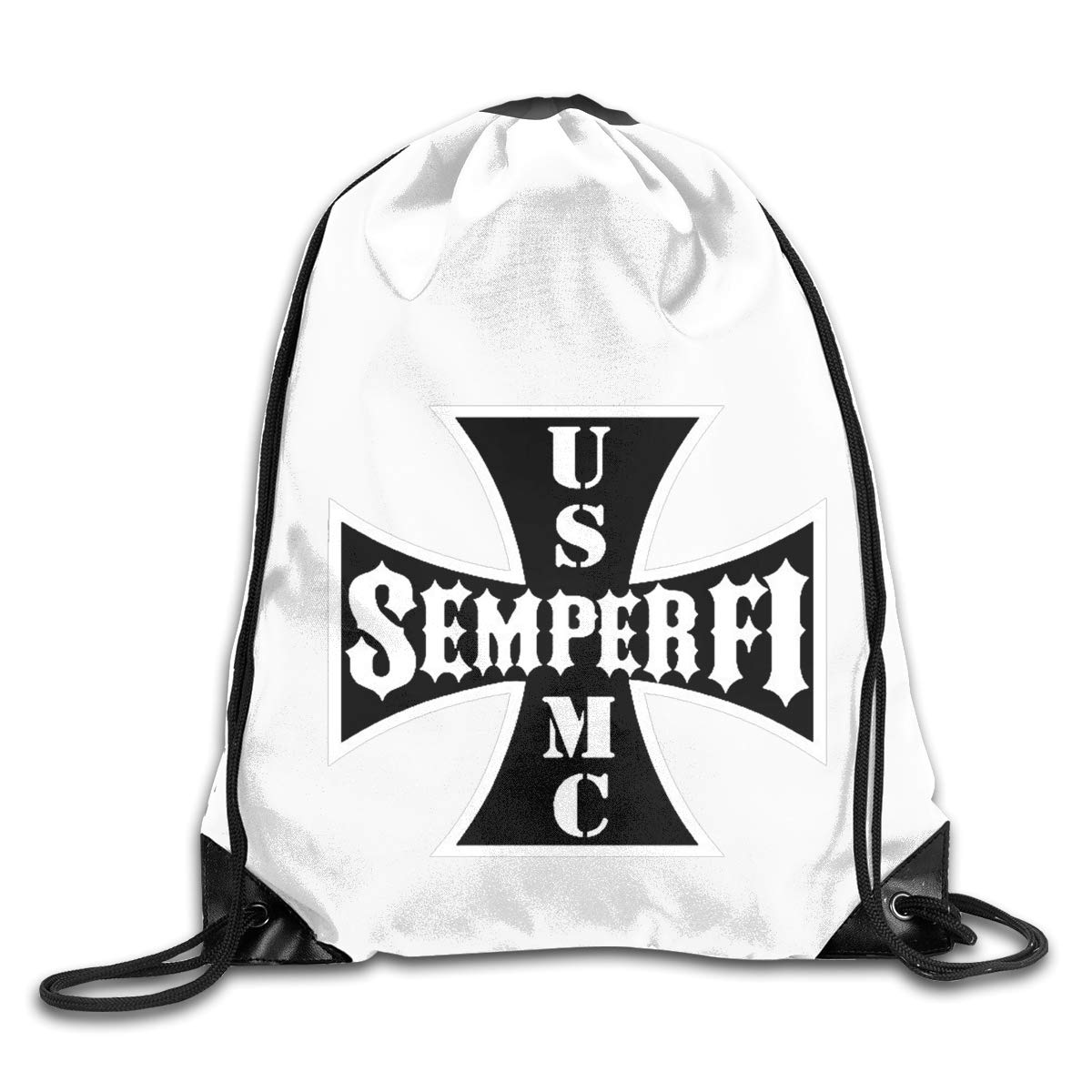 Semper Fi US Marine Corps Drawstring Bags Eat Sleep Dance Repeat Beam Mouth Backpack Basketball Tennis Gympack