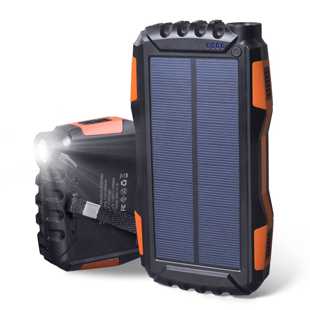 25000mAh Portable Solar Power Bank Dual USB Output Battery Bank with Strong LED Light, Elzle Outdoor Solar Charger Phone External Battery Shockproof Dustproof for iPhone Series, Smart Phone, More