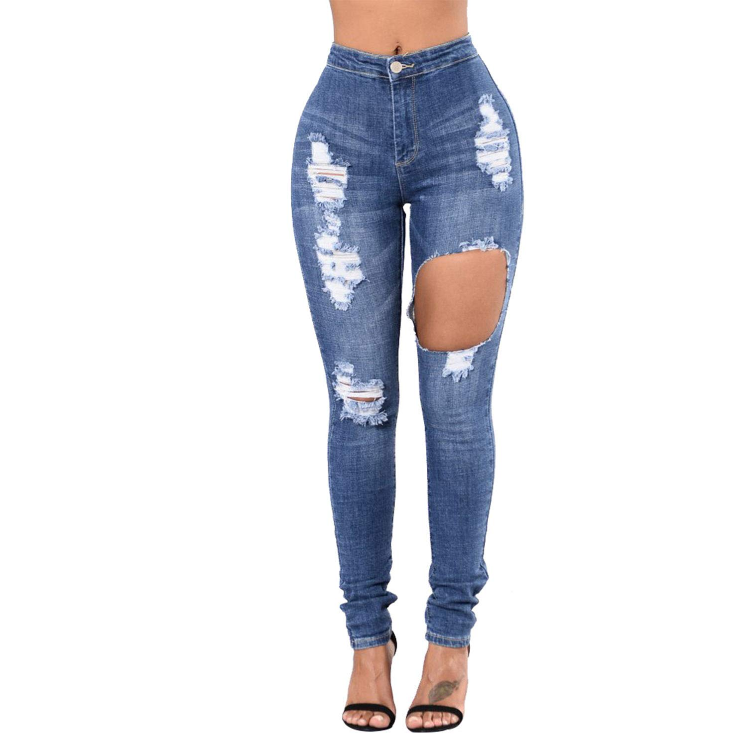 Women's Fashion Personality Jeans Slim Stretchy Straight Destroyed Ripped Skinny Jeans Suit for Ladies Girls Daily Outwear