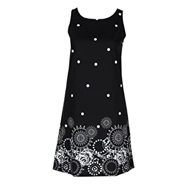 d35e080bc64 AMSKY Summer Printed Beach Dresses for Women Sexy Sleeveless Vest Mini Dresses  Casual Sundresses (S