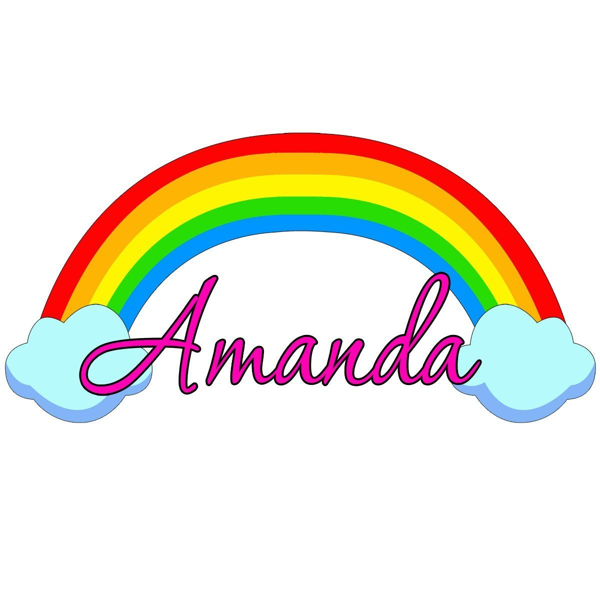 "Custom Name Rainbow Wall Decal Nursery Personalized Wall Decals For Girls VWAQ-RB2 (20"" Wide)"