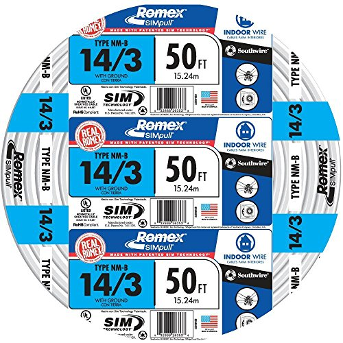 Southwire 63946822 50' 14/3 with ground Romex brand SIMpull residential indoor electrical wire type NM-B, White (Best Electrical Wire For House Wiring)
