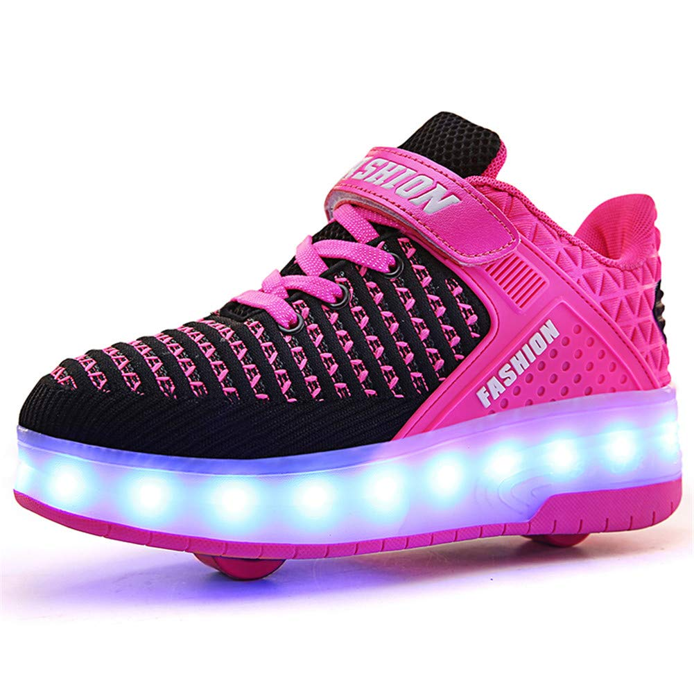 Kids Boys Girls USB Charging High-Top Shoes LED Light up Sneakers Single Wheel Double Wheel Roller Skate Shoes