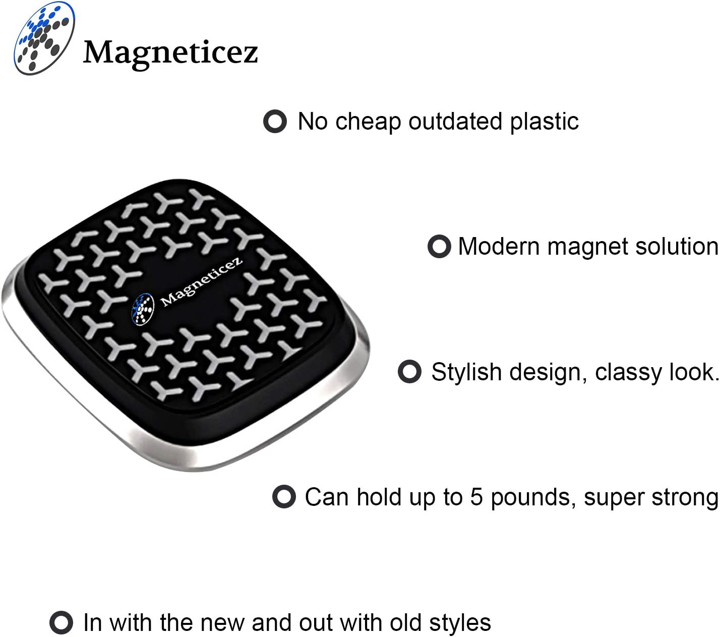 Magneticez Magnetic Phone Holder Universal Dashboard Magnet Car Mount for Cell Phones and Mini Tablets Compatible with iPhone 11 Pro Max XR XS Max X Samsung Galaxy S10 S9 Note 10.