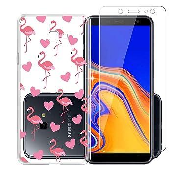 HHUAN Funda para Samsung Galaxy J4 Plus 2018 (European Version Flamingo, corazón Rojo Transparente Ultrafino TPU+ Cristal Templado Vidrio Bumper Suave ...
