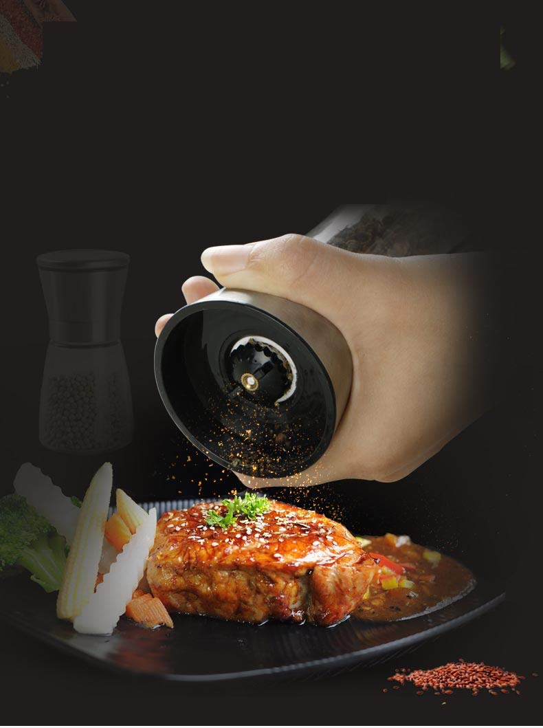5.5 x 2.5 Spice Bottle with Stainless Steel Rotor and Ceramic Mill to Adjust Coarseness MEIJUBOL Pepper Grinder Salt Shaker