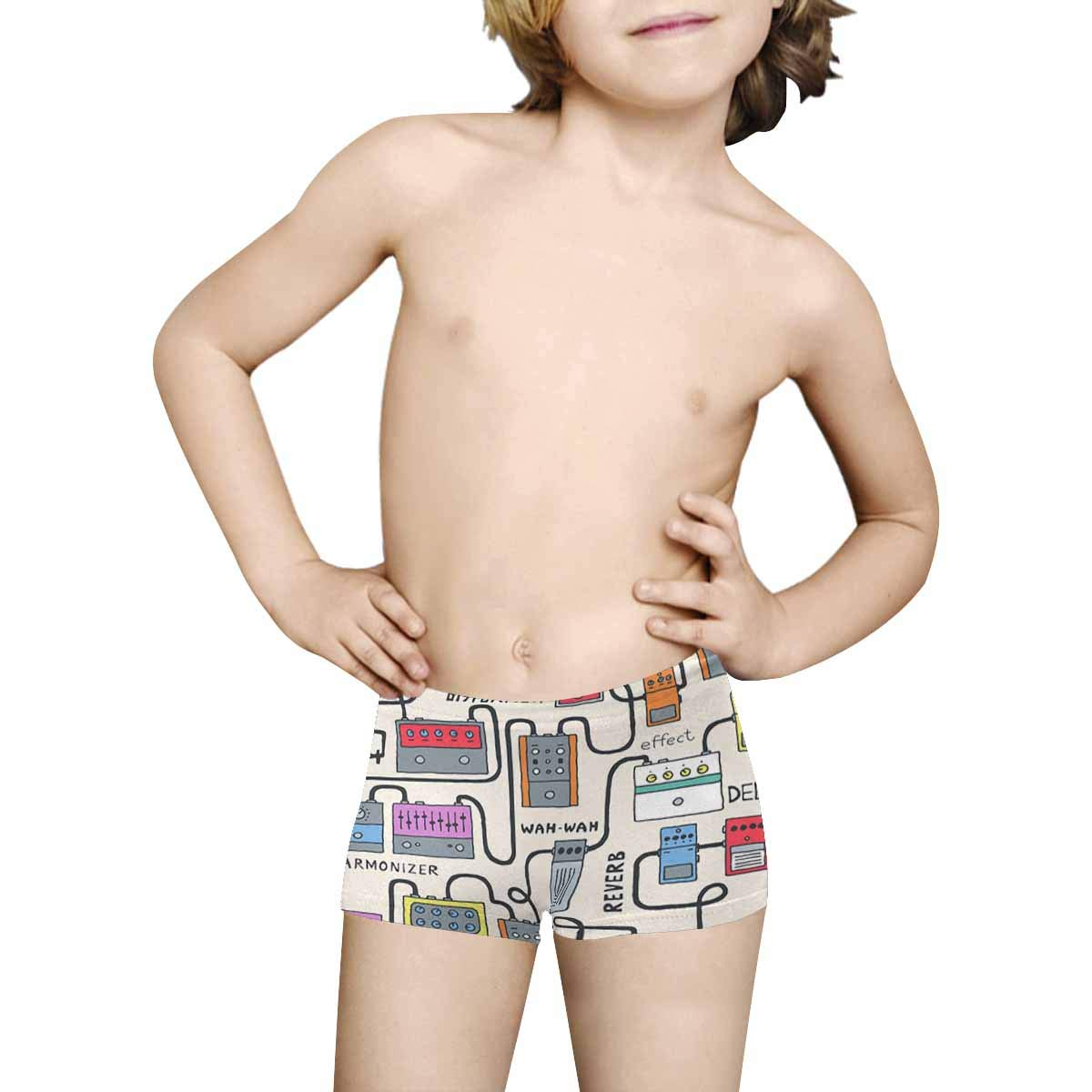INTERESTPRINT Boys Colorful Guitar Pedals Pattern All Over Print Boxer Briefs 5T-2XL