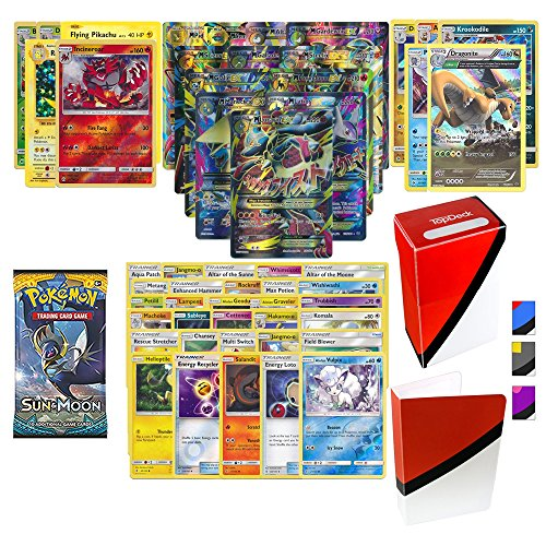 Pokemon Full Art Mega EX Guaranteed with Booster Pack, 5 Rare Cards, 5 Holo/Reverse Holo Cards, 30 Regular Pokemon Cards, TopDeck Deck Box and Mini Binder