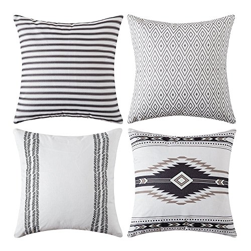 MIULEE Pack of 4 Modern Geometric Cushion Covers Protectors Decorative Pattern Contemporary Square Throw Pillow Case for Home Decorating Livingroom Sofa Bed 45cm x 45cm,18x18 Inches White Black