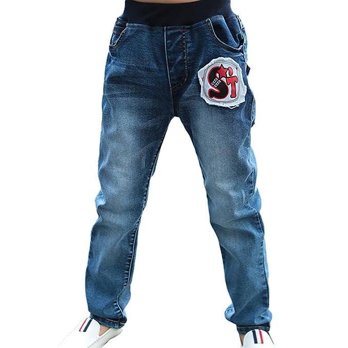 Yiiquan Niños Primavera y verano Jeans Retro Elasticidad ...