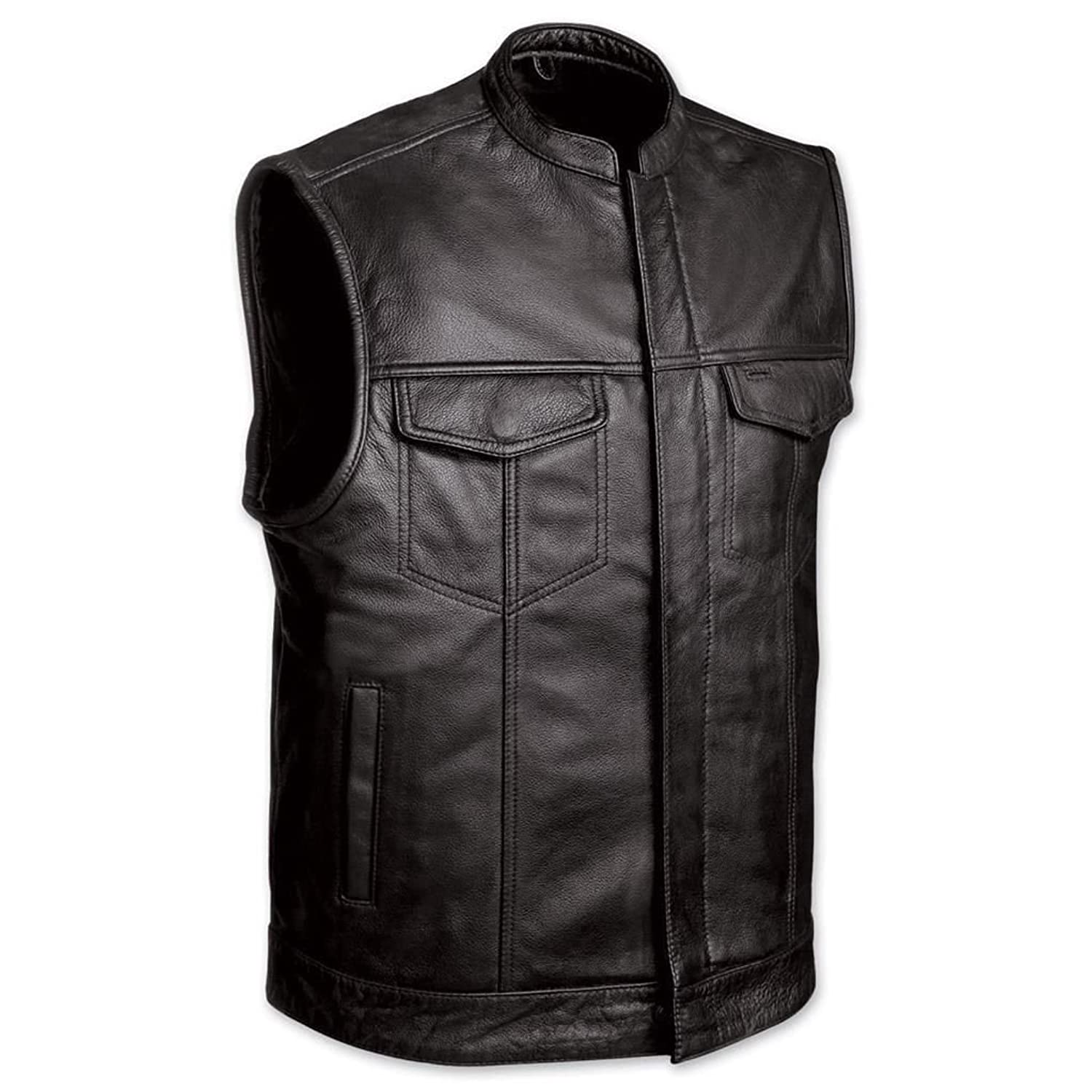 MEN'S MOTORCYCLE SONS OF ANARCHY BLACK LEATHER VEST W/GUN CELL