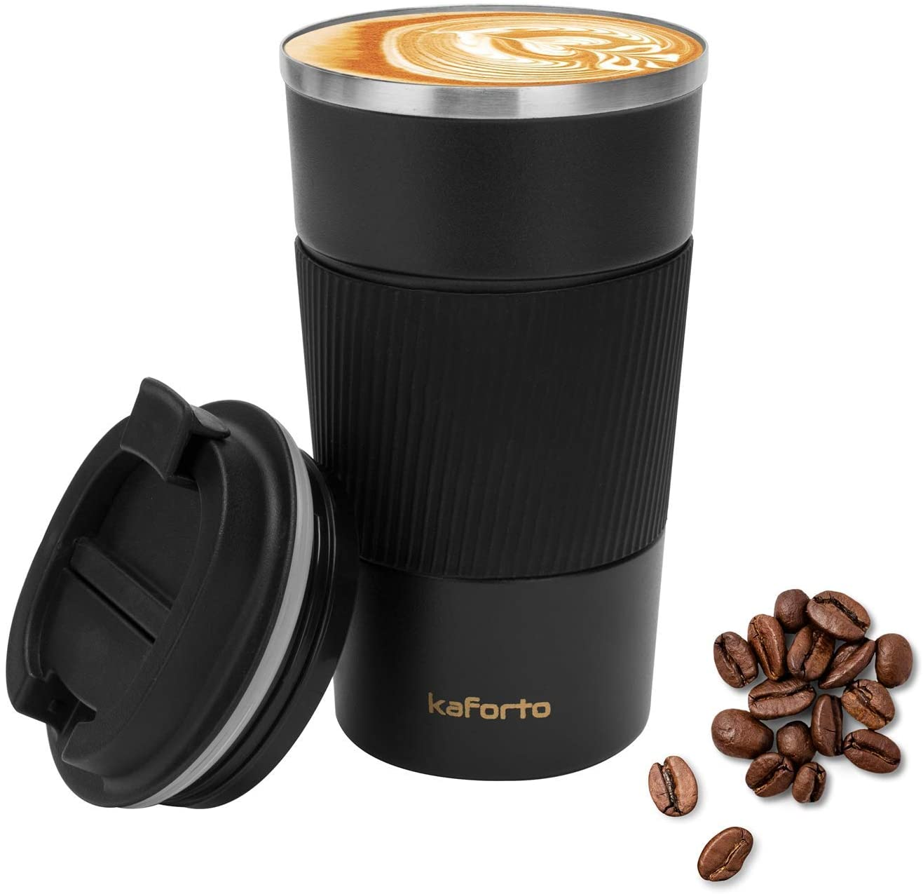 Insulated Coffee Travel Mug Double Wall Stainless Steel Vacuum Tumbler Coffee Cup for Home, Office, Outdoor Works Great for Ice Drinks and Hot Beverage- 510ml/17oz, Black