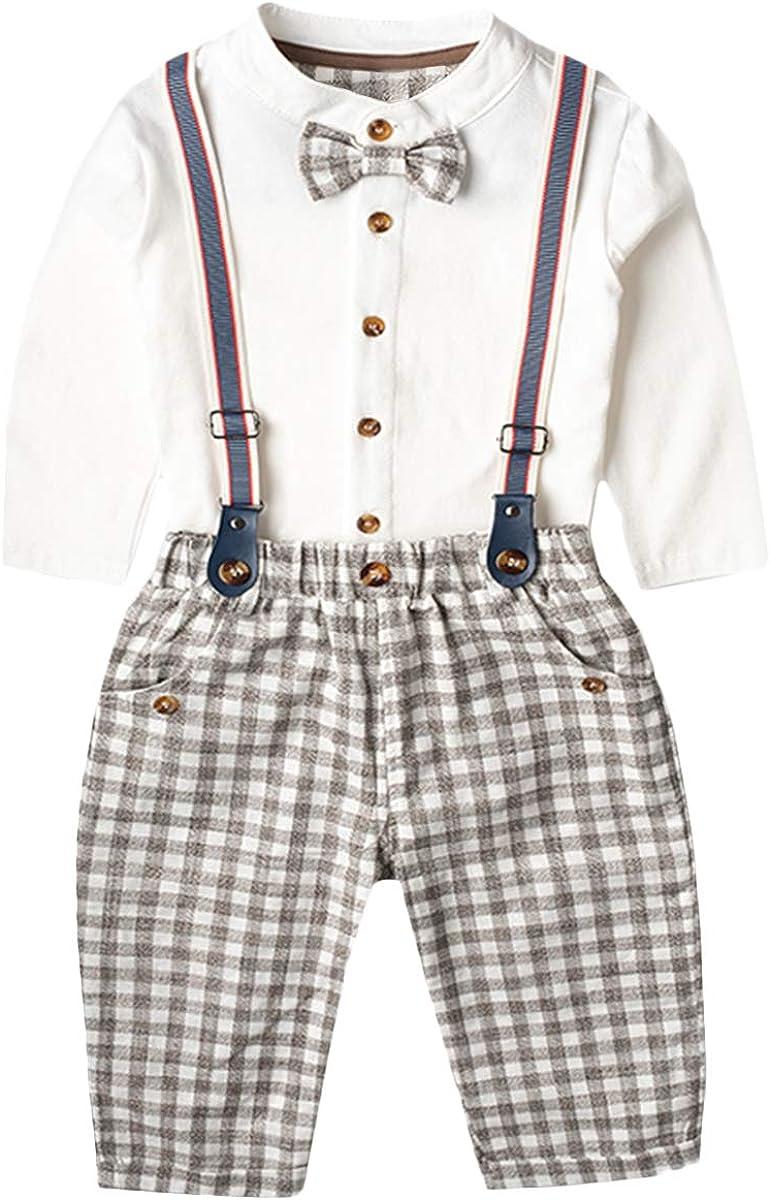 famuka Baby Junge Festanzug Hochzeit Taufe Babykleidung Set Braun, 73cm