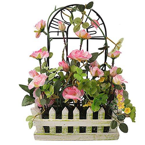 RERXN European Artificial Rose in Wooden Fence Pot Silk Flowers Arrangement Home Wedding Decor (Pink) -