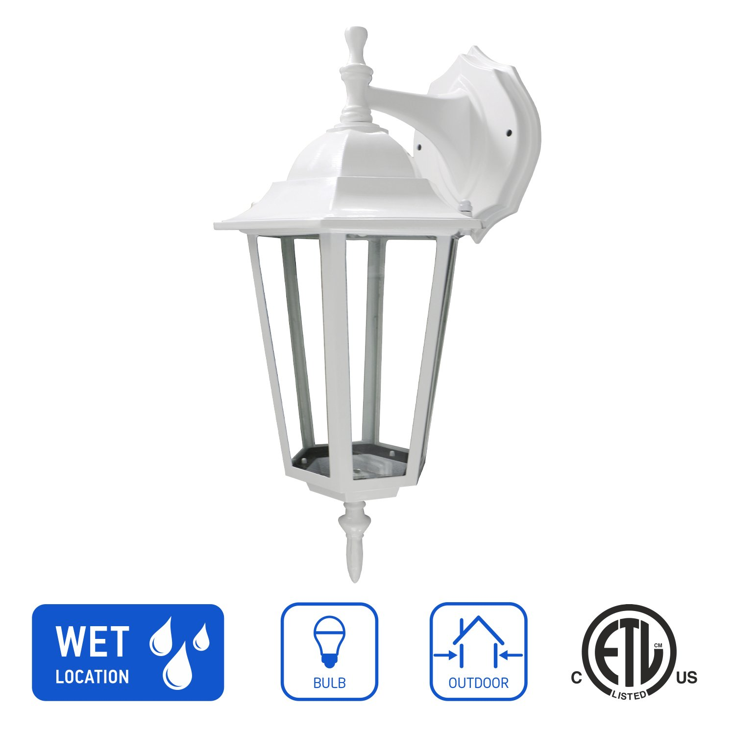 in Home 1-Light Outdoor Wall Mount Lantern Downward Fixture L01 Series Traditional Design White Finish, Clear Glass Shade, ETL Listed
