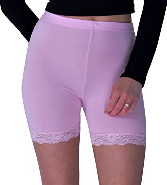 Womens Ladies Trim Jersey Gymming Cycle Hot Pants Tights Lace Shorts