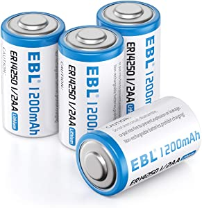 EBL 1/2 AA Size 14250 ER14250 3.6 Volt Lithium Batteries, 1200mAh High Capacity Batteries for Dog Collars and Baby Movement Monitor Alarm Systems and More