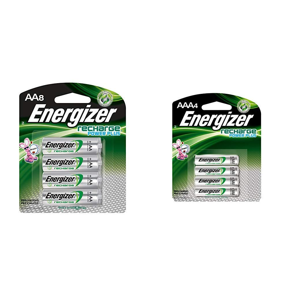Energizer Rechargeable AA Batteries, NiMH, 2300 mAh, Pre-Charged, 8 count (Recharge Power Plus) & Rechargeable AAA Batteries, NiMH, 800 mAh, Pre-Charged, 4 count (Recharge Power Plus) - EVENH12BP4 by Energizer