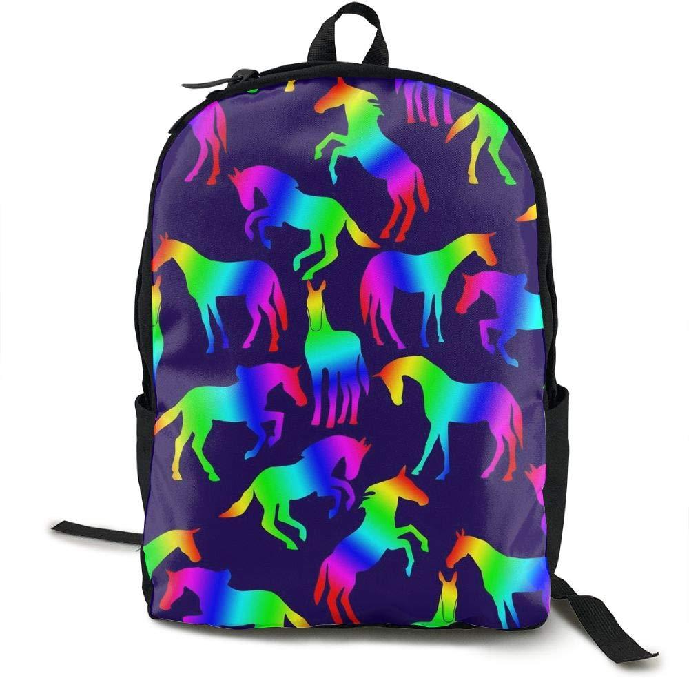 Mwsgs90 Laptop Backpack Rainbow Horses Fun Celebrate Computer Bag College School Backpack Unisex