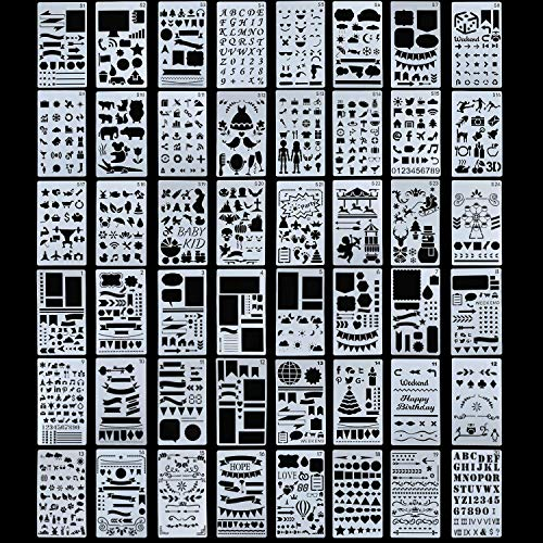48 Pieces Plastic Drawing Stencils Over 1900 Different Patterns Templates Planner Kit for Diary Notebook Scrapbook DIY 4 x 7 Inches -