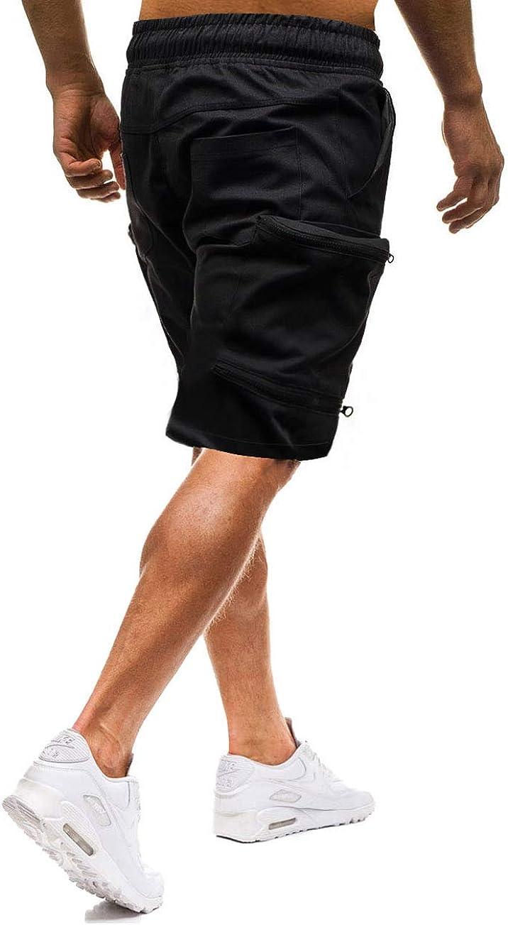 Mens Summer Casual Multi-Pocket Elasticated Waist Cargo Knee Length Short