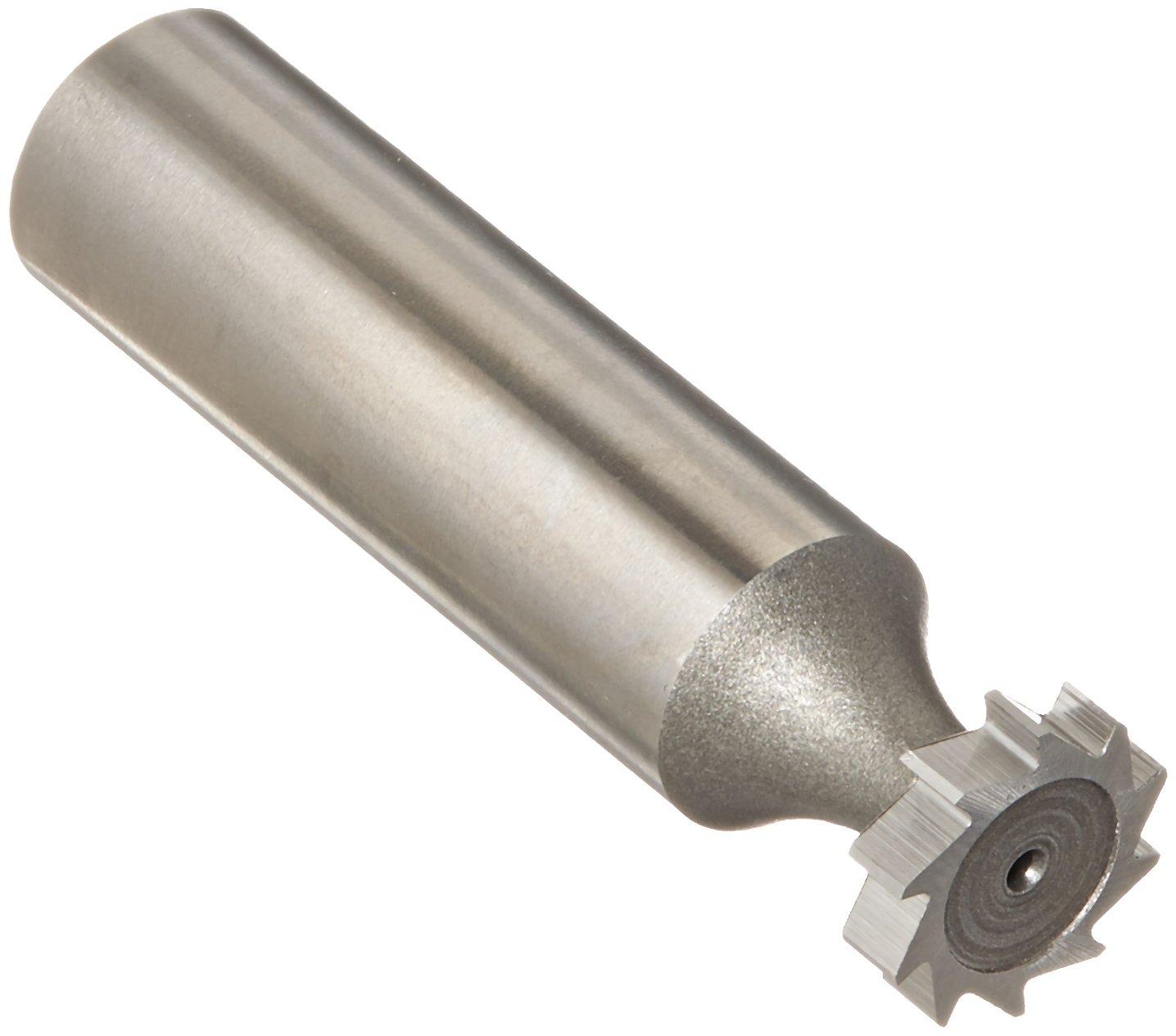 KEO 64040 High-Speed Steel Woodruff Keyseat Cutter, Uncoated (Bright) Finish, Round Shank, 1/2'' Shank Diameter, 1/2'' Cutter Diameter, 10 Straight Teeth, 1/8'' Face Width