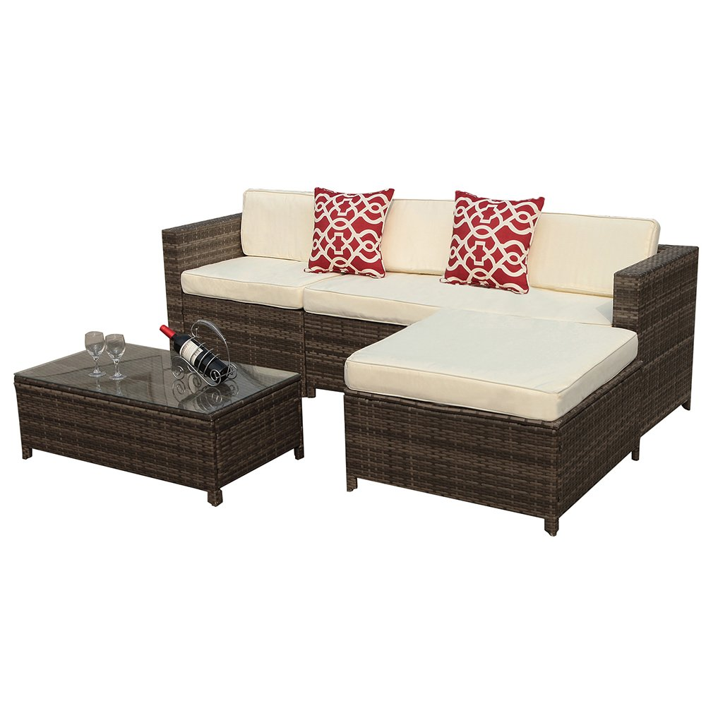 Outdoor Patio Furniture set, 5pc PE Wicker Rattan Sectional Furniture Set with Cream White Seat and Back Cushions, Steel Frame, Red Throw Pillows,Gray by Super Patio
