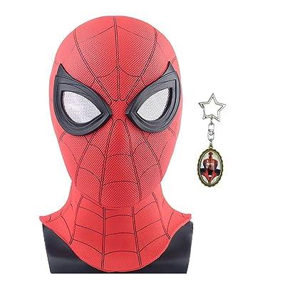 yacn Máscara de Spider-Man Replica para lejos de casa 2019-Led Spider Man Full Head Mask Adult Red con Ojo de Malla (Kids PVC Mask): Juguetes y juegos