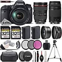 Canon EOS 6D DSLR Camera + Canon 24-105mm f/4L IS USM Lens + 75-300mm III + 0.43X Wide Angle Lens + 2.2x Telephoto Lens + 2 32GB Memory Card. All Original Accessories Included - International Version