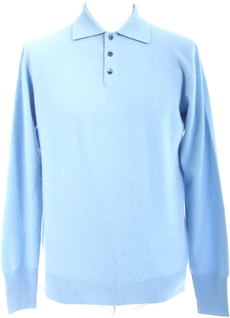 Shephe Mens Polo Cashmere Sweater with 3-Button